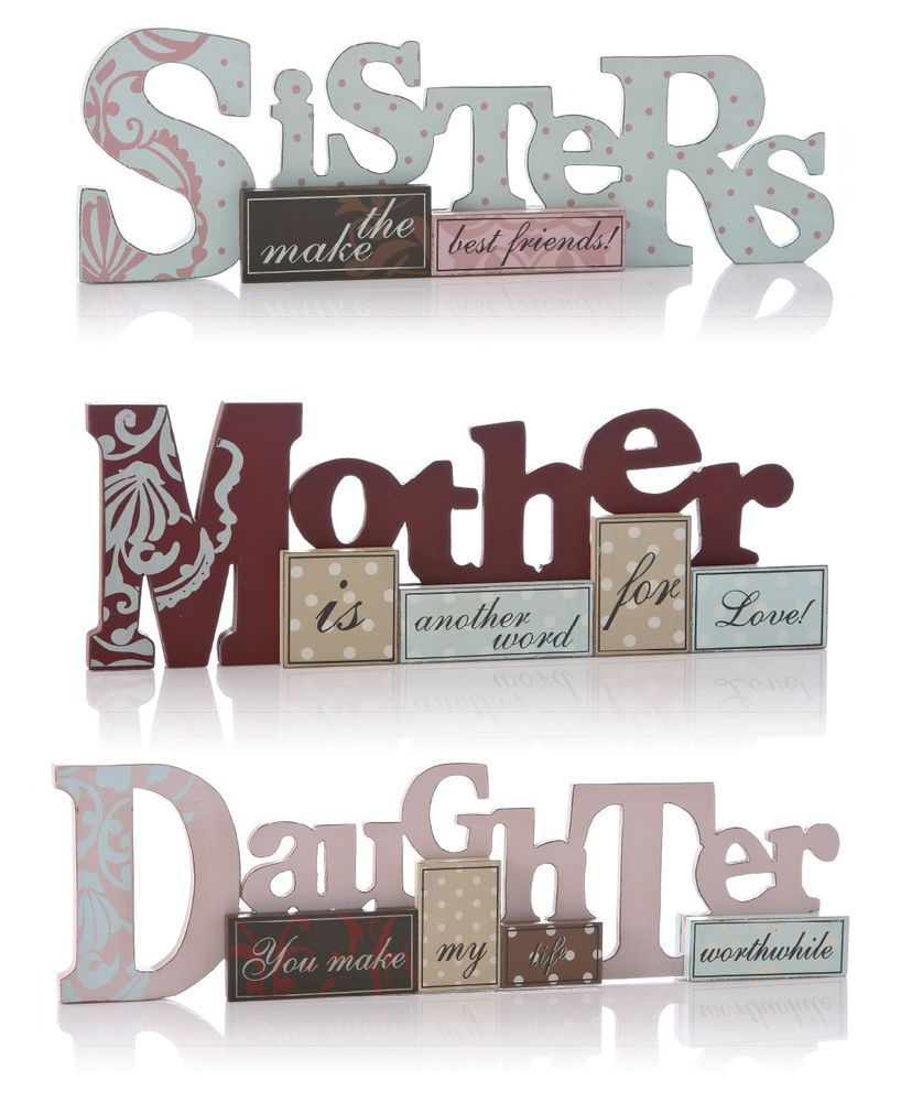 Details about shabby chic mum daughter sister wooden