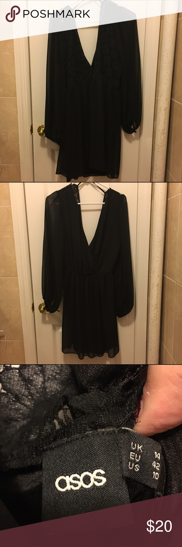 ASOS low cut black skater dress Brand New ASOS Low cut and low back flowing skater dress. Lace work on the back. Invisible closure, billowing sleeves. Great for a night out! ⭐️Fast Shipper🏃🏻♀️✔️⭐️Ask Me A Question/make me an offer⁉️✔️⭐️ ASOS Dresses Mini