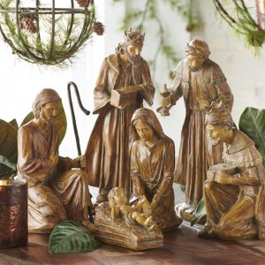 Traditional Style Nativity, Set of 6 Antique farmhouse