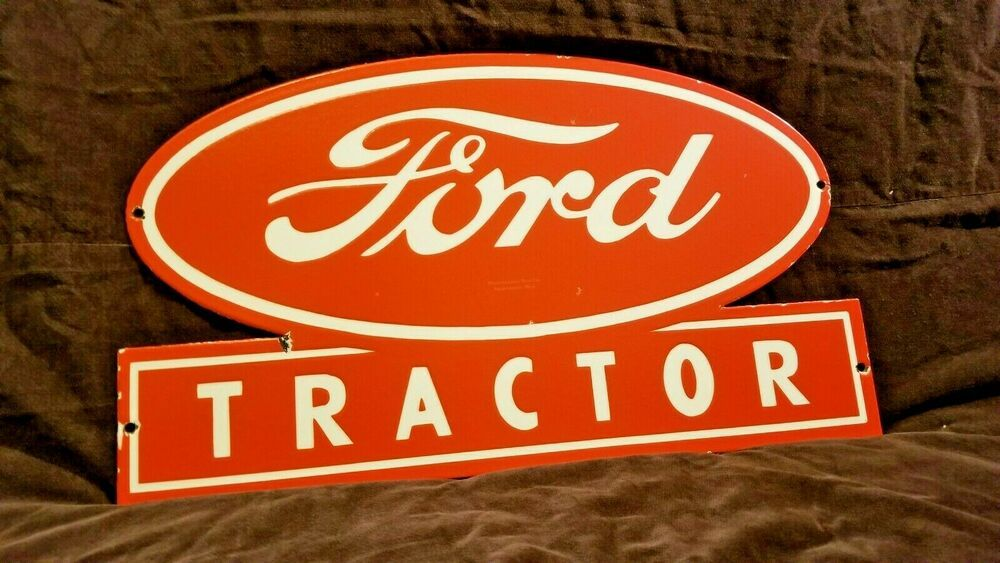 Vintage Ford Porcelain Gas Auto Motors Parts Service Station Dealership Sign Ford With Images Porcelain Signs Steel Signs Service Station
