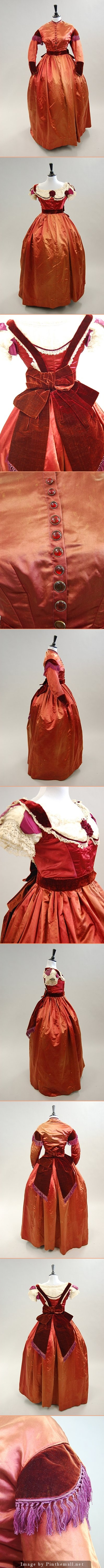 A copper-red satin gown with day and evening bodice.  1860s. - created via http://pinthemall.net