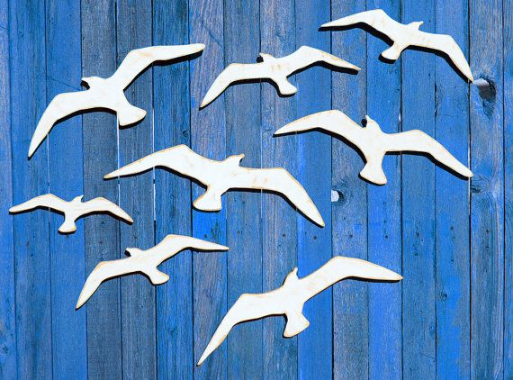 Seagulls Flock Of Seagulls Wooden Seagull Coastal Wall Decor