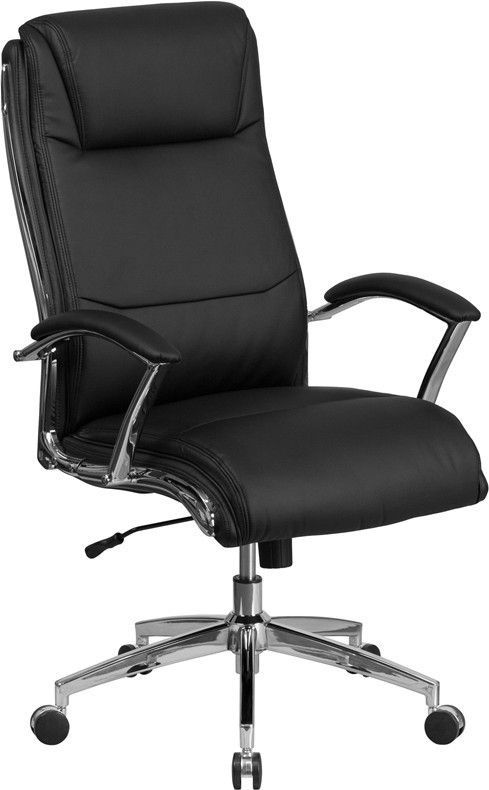 High Back Designer Black Leather Executive Swivel Office Chair with Padded Arms and Chrome Base
