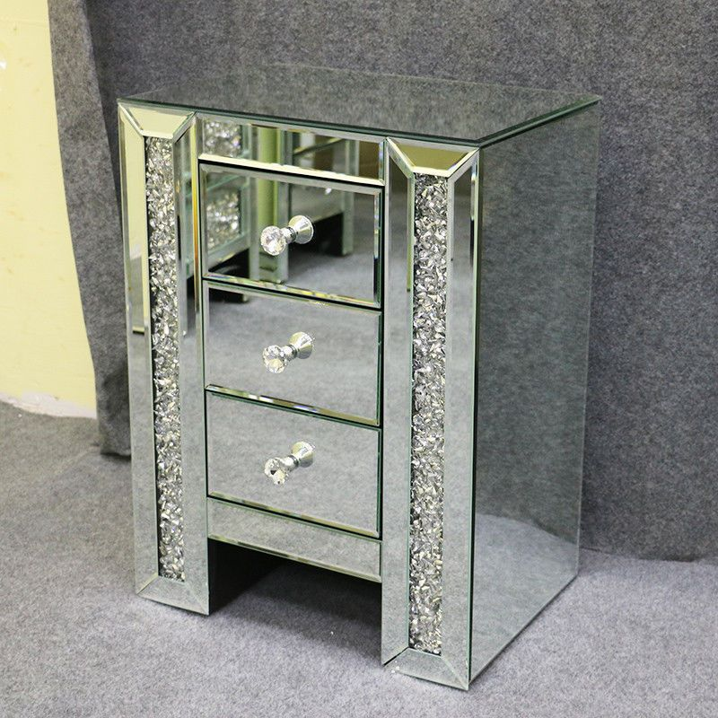 Details About Sparkly Mirrored Crushed Crystal 3 Drawer Bedside
