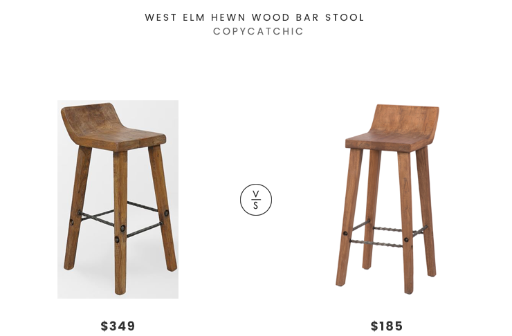 Awesome West Elm Hewn Wood Bar Stool $349 Vs Overstock Gray Barn Gold Creek Natural  Elmwood Bar Stool $185 Rustic Wood Hewn Bar Stool Look For Less Copycatchic  Luxe ...