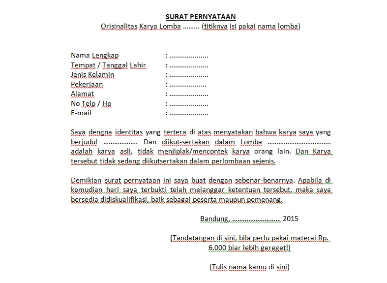 Contoh Surat Pernyataan Kesanggupan Mengikuti Lomba Contoh Surat Surat Pengikut Tanggal