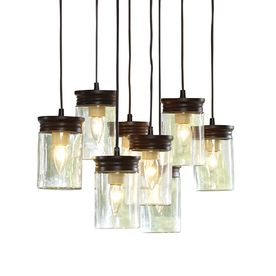 Allen Roth 8 25 In W Oil Rubbed Bronze Pendant Light With Clear