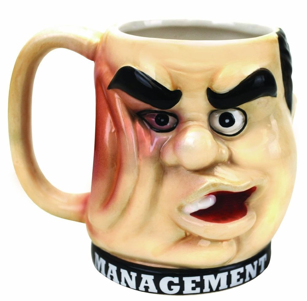 Management Punchout Mug Cup Coffee Tea Gag Joke Funny Gift Party Big Mouth Toys