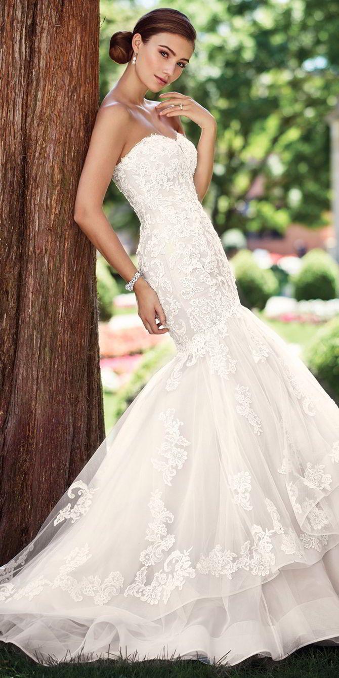White mermaid wedding dress  Mermaid Wedding Dresses  Strapless reembroidered Alençon lace