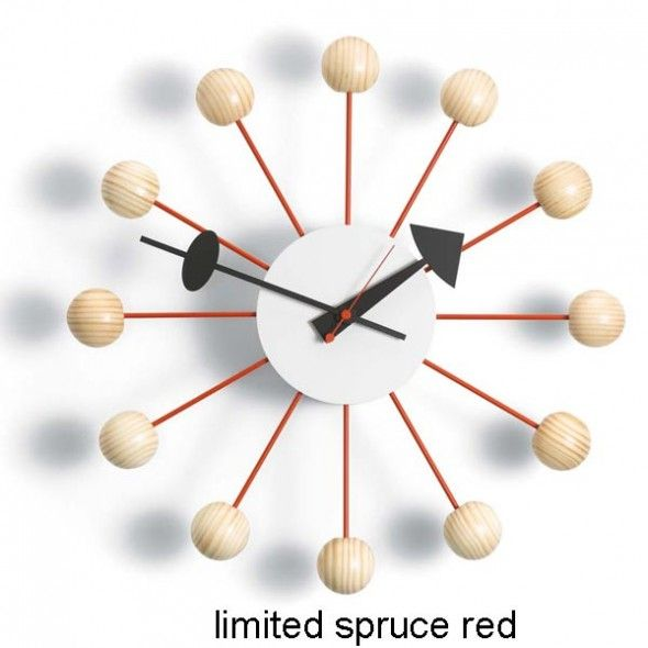Limited Edition Spruce Red Ball Clock By George Nelson Nelson Ball Clock