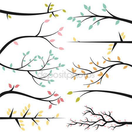 insieme vettoriale di sagome ramo albero illustrazione stock 27835215 illustration zweige buntstiftzeichnungen vektorisiertes logo adobe vektor