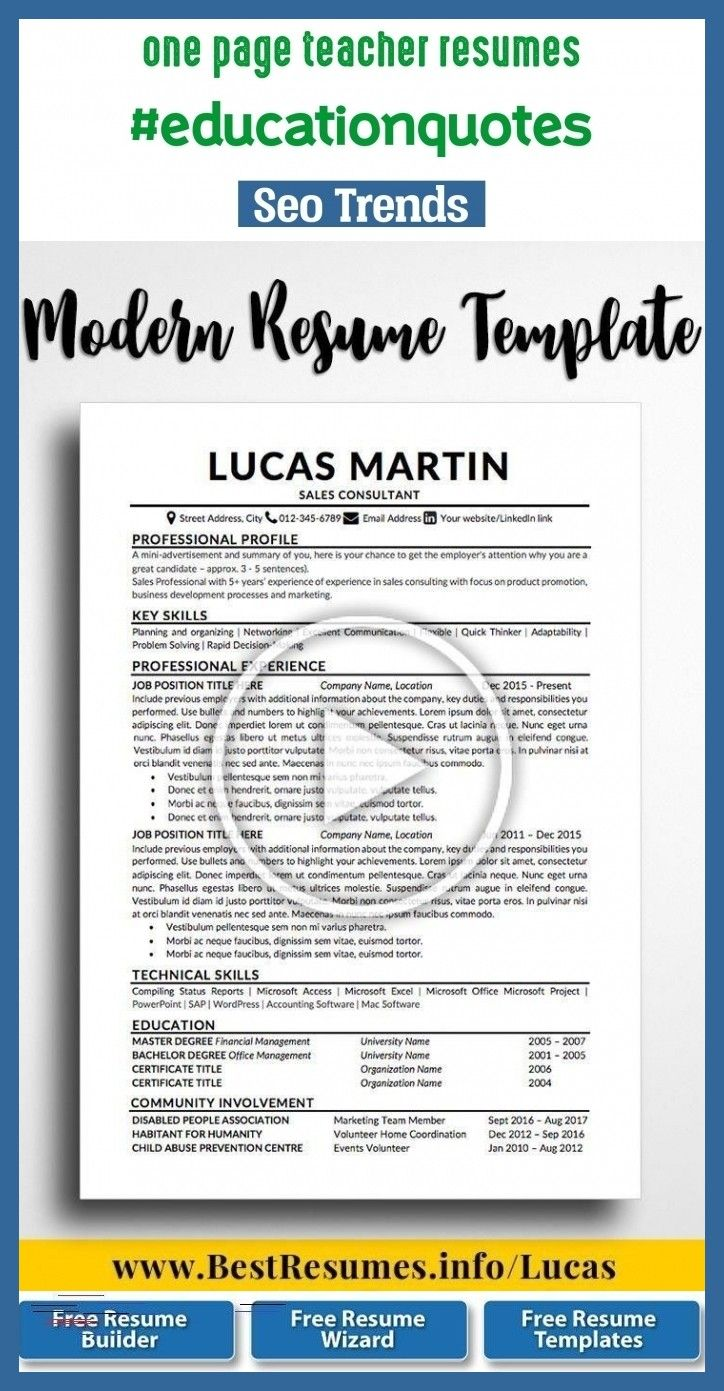 One page teacher resumes educationquotes blog seo