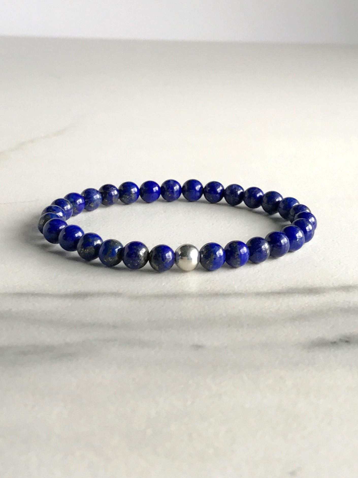 Natural crystal bracelet lapis lazuli jewelry stretch blue