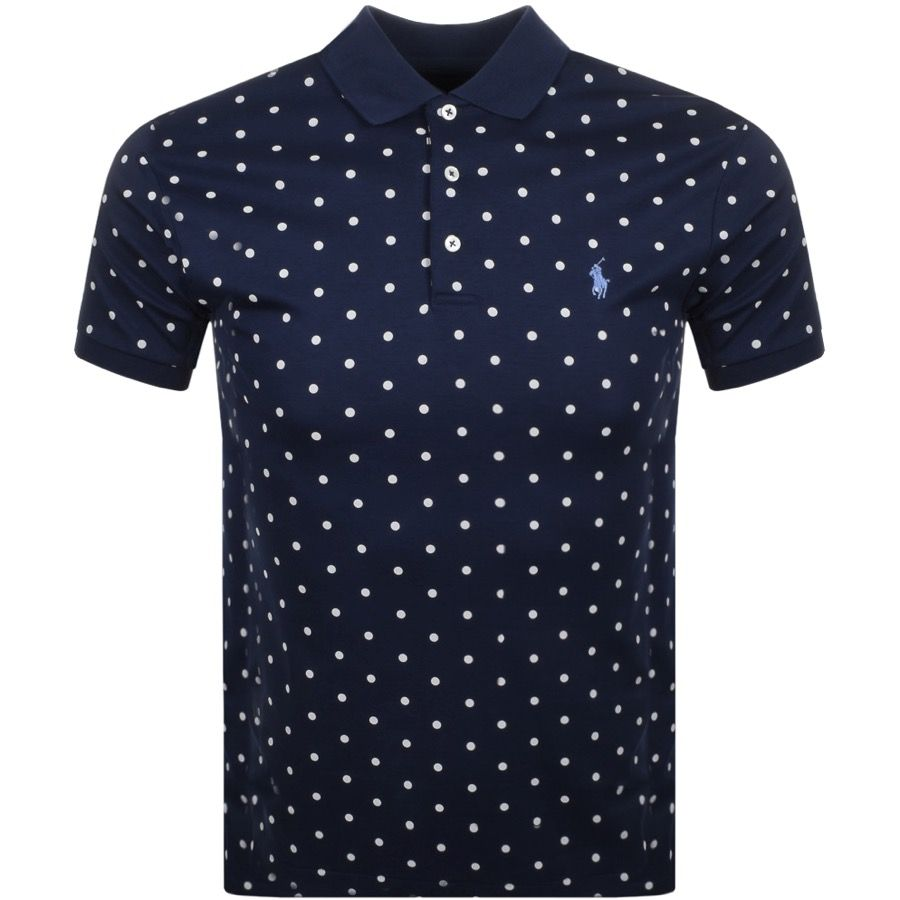 224729f50a Ralph Lauren Short Sleeved Polka Dot Polo T Shirt In French Navy, Slim Fit.  A polka dot design in beige cotton jersey with a three pearlescent button  ...