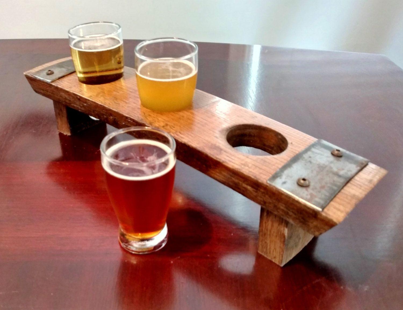 Beer Flight Tray Made From Reclaimed Whiskey Barrel Stave 3 Etsy Barrel Stave Beer Flight Tray Whisky Barrel