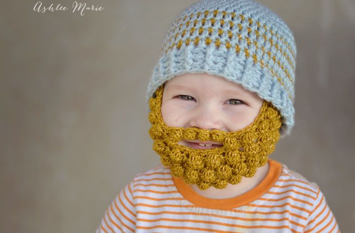Crochet Bobble Beard pattern - multiple sizes | Ashlee Marie | Mini ...