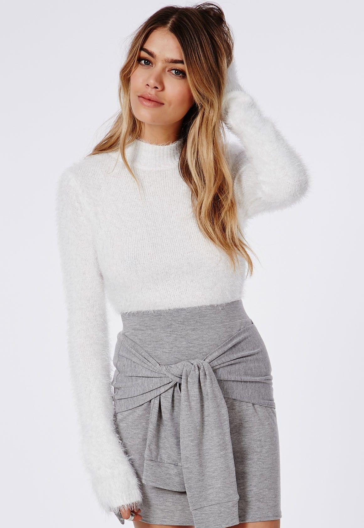 Deven Knitted Fluffy Long Sleeve Cropped Jumper White - Knitwear ...