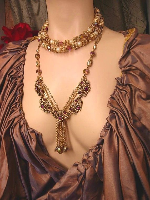 Heavy Gilt Vintage Baroque Collar Necklace In Rich Purple Amethyst