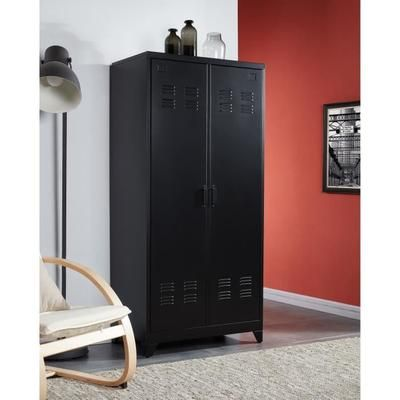 CAMDEN Armoire vestiaire style industriel en métal noir laqué - L ...