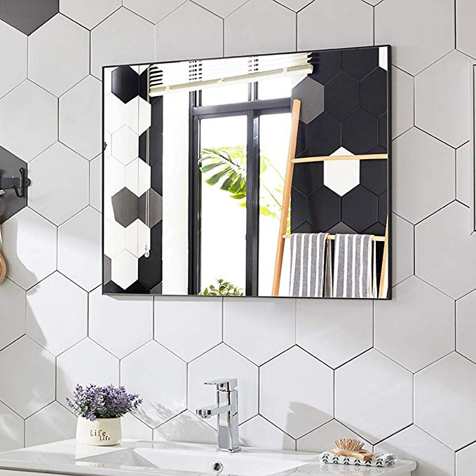 Amazon Com Tinytimes 23 6 31 5 Large Wall Mirror Rectangular Metal Framed Mirror Brushed Black A In 2020 Large Wall Mirror Metal Frame Mirror Dressing Room Decor
