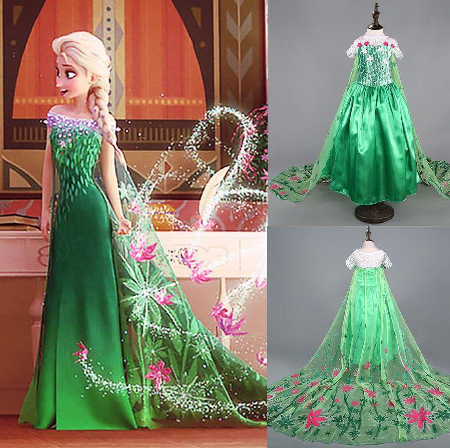 225bcf1c Girls' Frozen Fever Dress Elsa Anna Party Costume Princess Dress Kids'  Clothes