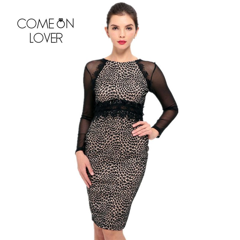 263f4941bd5 RI80124 Comeonlover Lace Sleeve Vestidos De Oficina Para Mujer Business  Party Wear to Work Office Bodycon