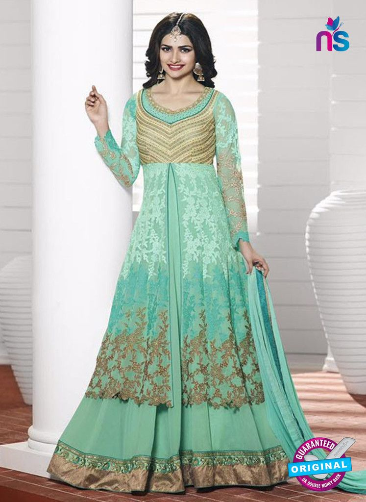 340de0c31a Vinay Fashion 3933 Seagreen and Golden Georgette Designer Gawn ...