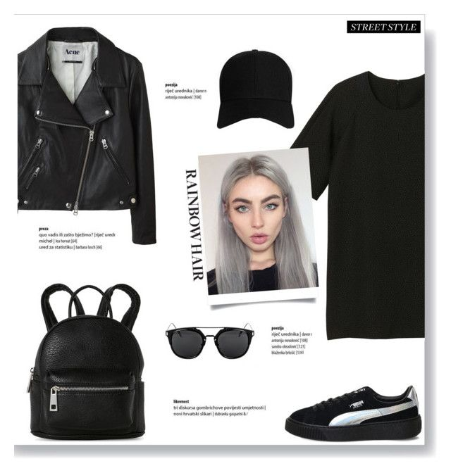 """""""Matchy-Matchy Hair"""" by brccz ❤ liked on Polyvore featuring Monki, Puma, Acne Studios, Boohoo, Street Level, hairtrend and rainbowhair"""