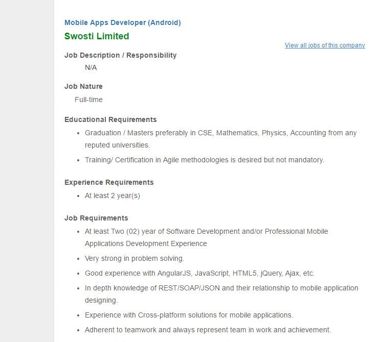 swosti limited mobile apps developer android job circular 2017 vacancy. Resume Example. Resume CV Cover Letter