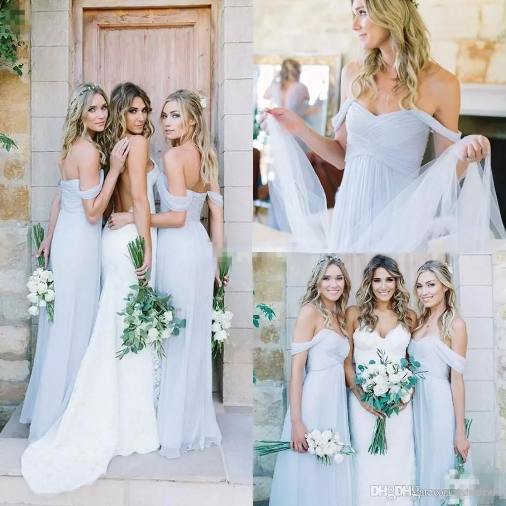 Simple off the shoulder wedding dresses   Simple Draped Sky Blue Off Shoulder Beach Boho Long Bridesmaid