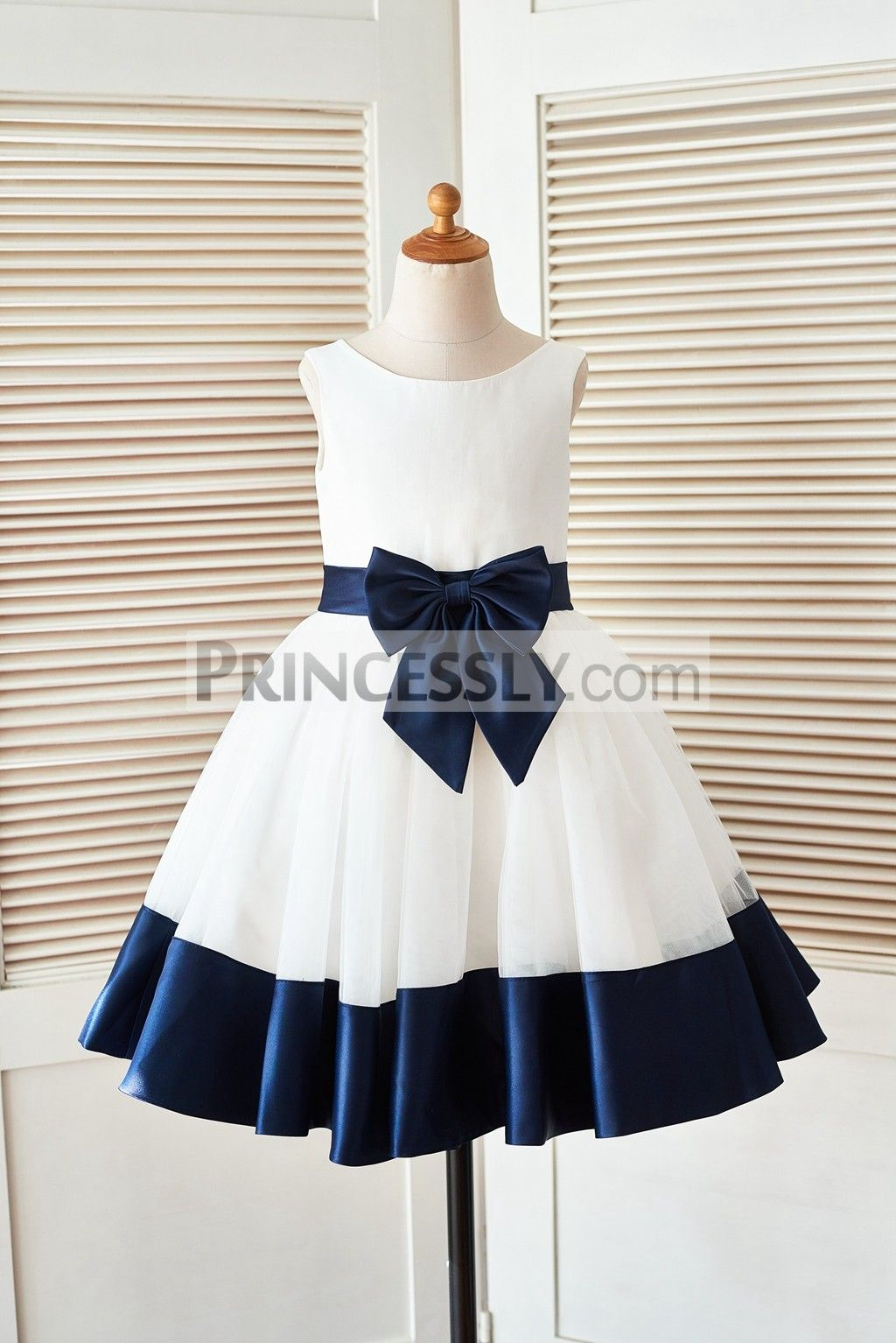 Ivory Satin Tulle Flower Girl Dress With Navy Blue Beltbow