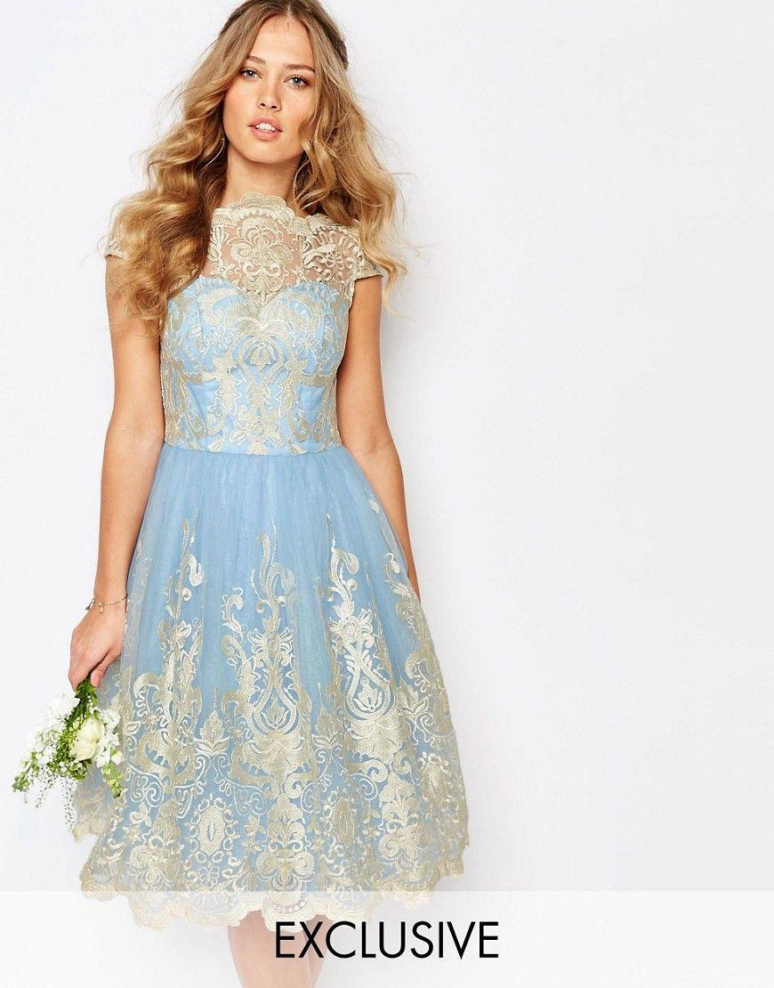 Chi Chi London Premium Metallic Lace Midi Prom Dress with Bardot ...