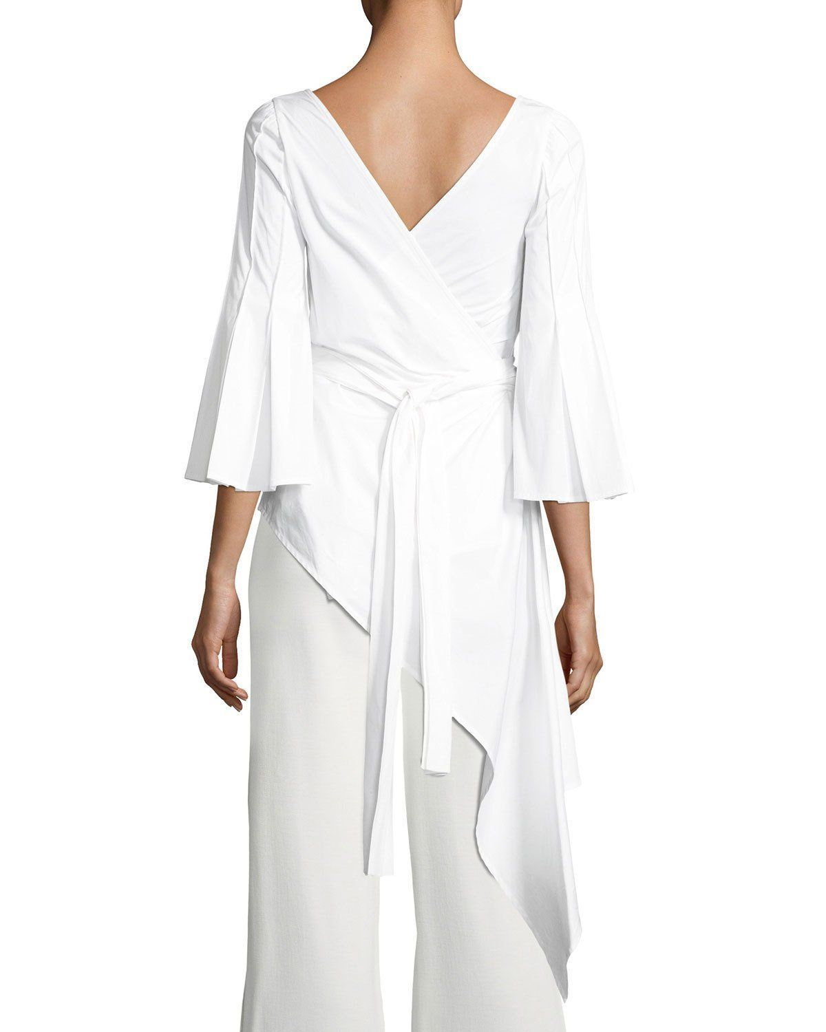 31ea65fd3c504a Wrap Blouse with Pleated Flounce Sleeve White | Products | Wrap ...