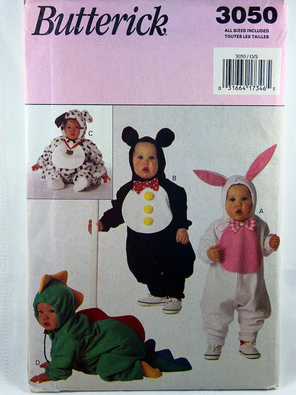 Butterick 3050, Infants' Costume Pattern, Bunny Pattern, Dino ...