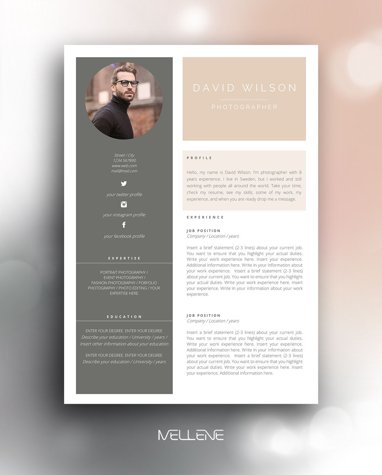 resume template 3 page    cv template   cover letter    instant download for ms word     u0026quot amy
