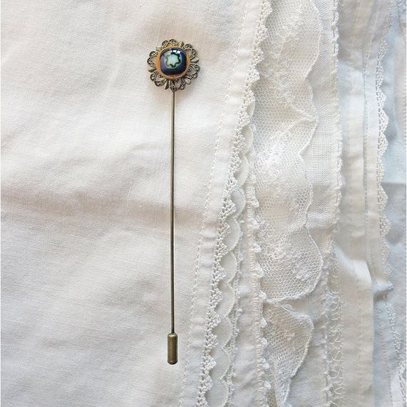 Fused Glass and Filigree Long Stick Pin in Caramel by PamelaAngus