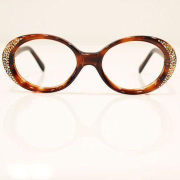 Glasses Frames With Rhinestones | ... 1950s unused amber eyeglass ...
