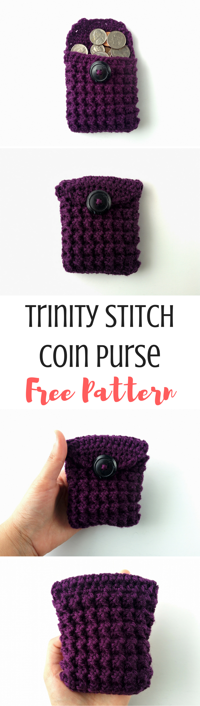 Trinity Stitch Coin Purse Pattern | crochet y 2 agujas | Pinterest ...