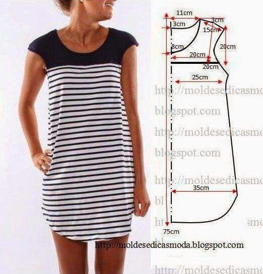 Molde de vestido con canesú.  d60569ee62eb