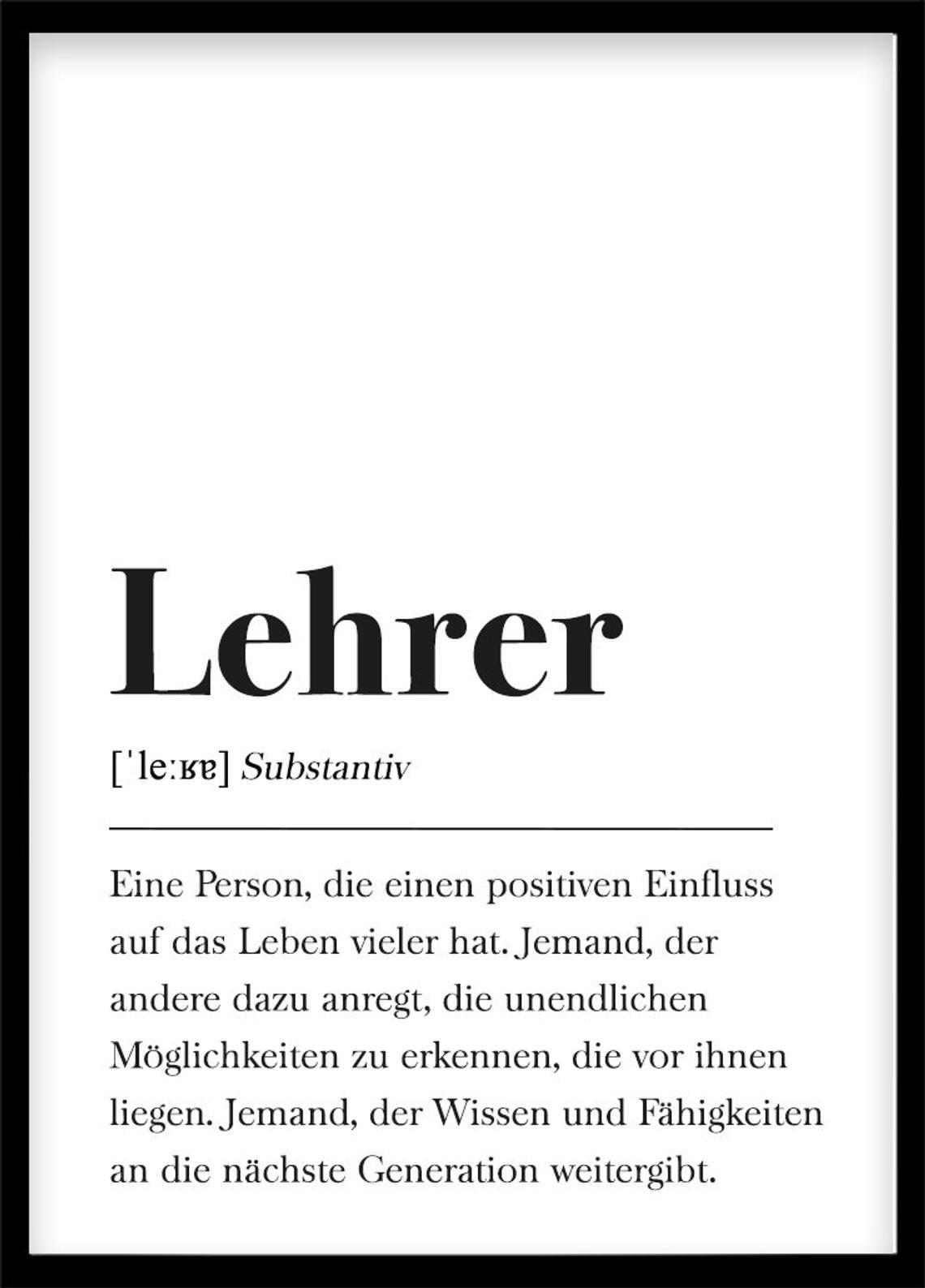 lehrer geschenk poster definition lehrer schwarz wei. Black Bedroom Furniture Sets. Home Design Ideas