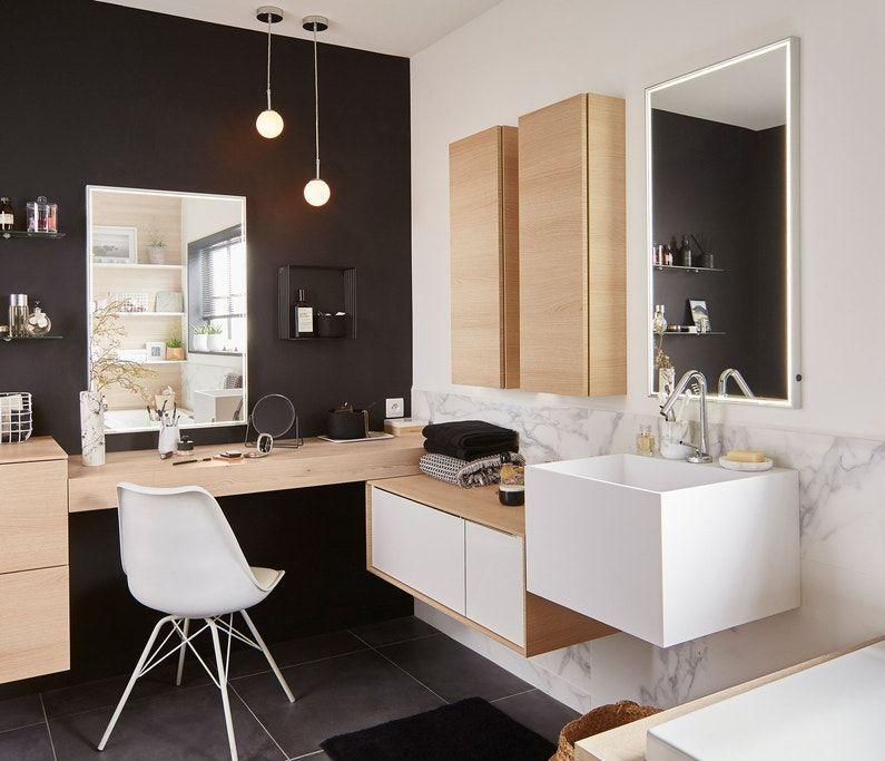 Meubles De Salle De Bains Blanc Et Effet Bois Superposes Leroy Merlin Coiffeuse Salle De Bains Dressing Design Salle De Bains Moderne