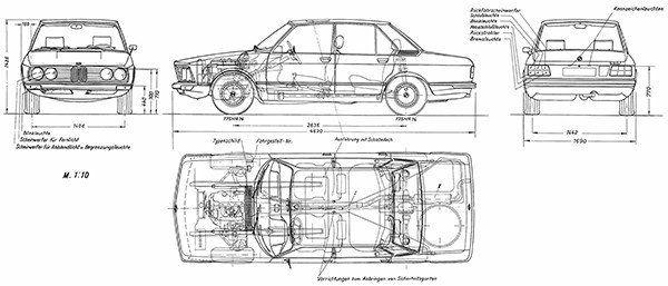 1973 Bmw 5 Series E12 520i Blueprint Poster Volkswagen 181
