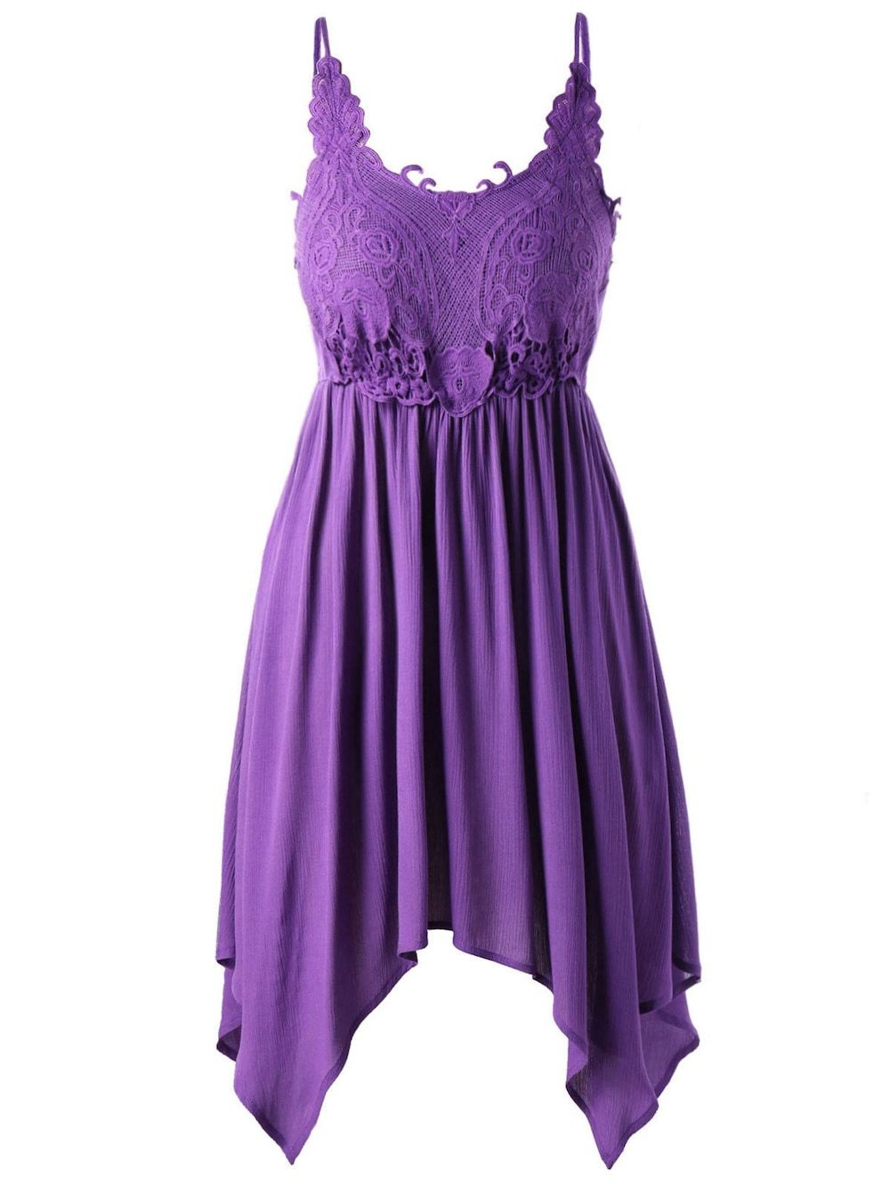 Plus Size Handkerchief Hem Slip Dress - Purple - Precioso vestido en ...