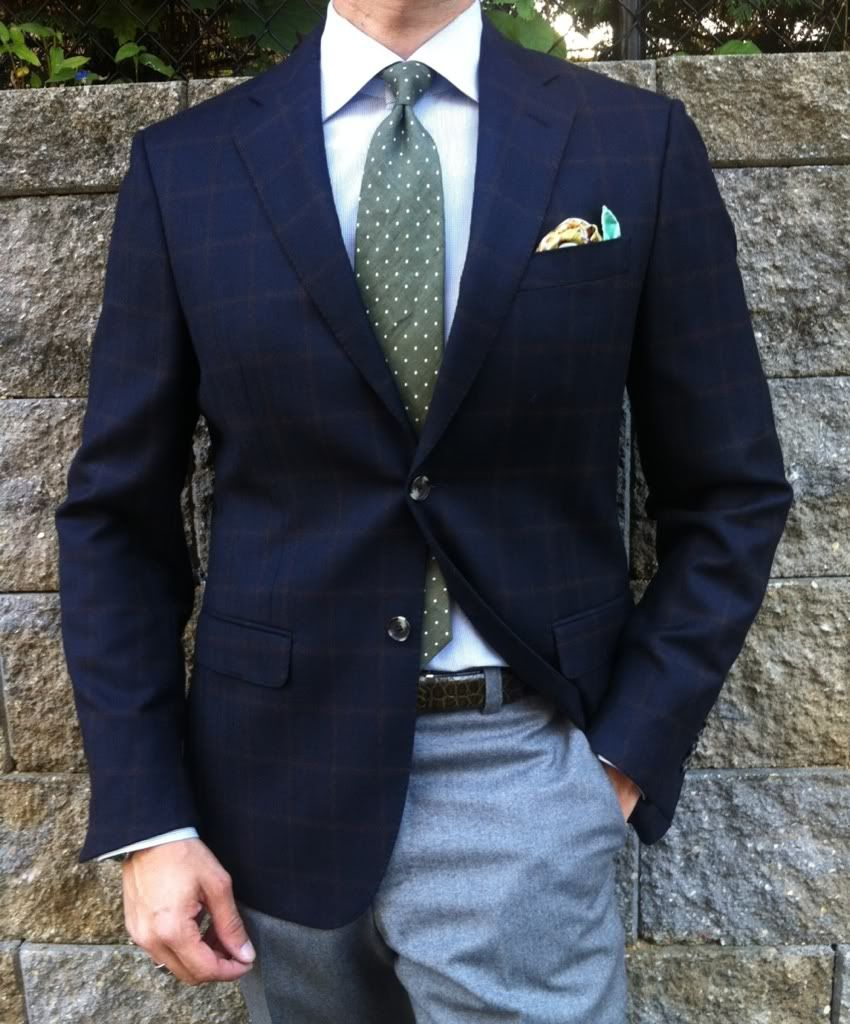 Navy windowpane jacket, green polka dot tie, grey pants | Suits ...