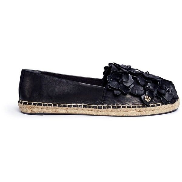 Black shoes · Tory Burch 'Blossom' floral leather espadrilles (9,150 MXN) ❤  liked on Polyvore