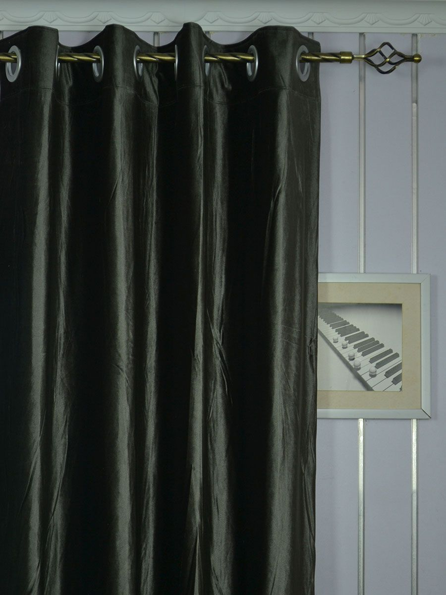 Hotham Gray And Black Plain Ready Made Velvet Curtains And