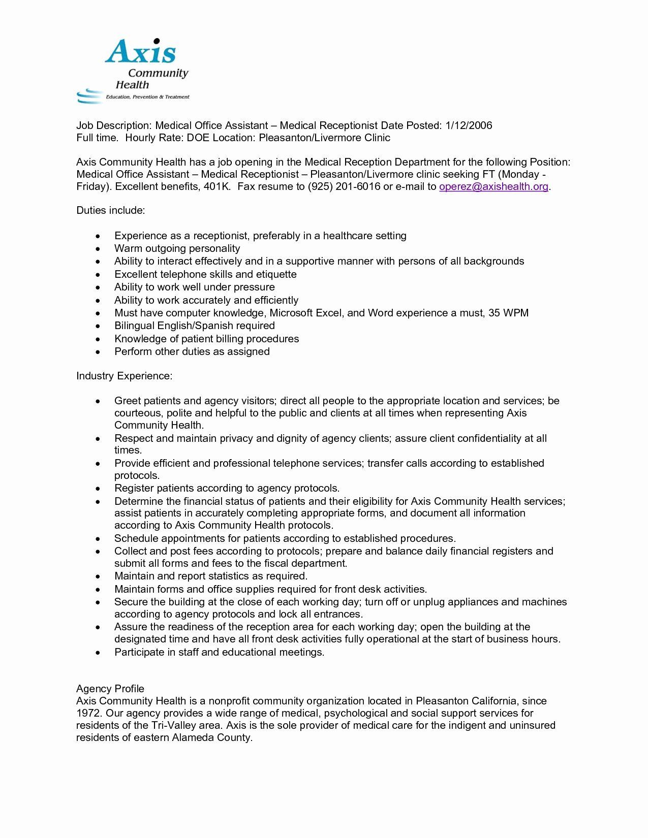 Front Desk Job Description Resume Beautiful 12 Medical