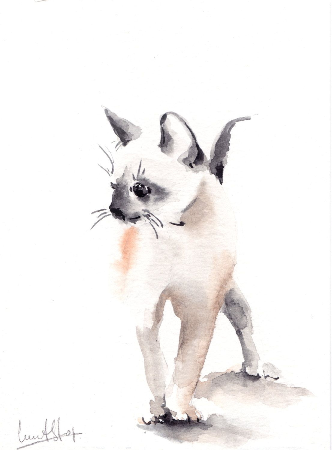 Original Watercolor Painting Of Kitten Cat Art Watercolour Art