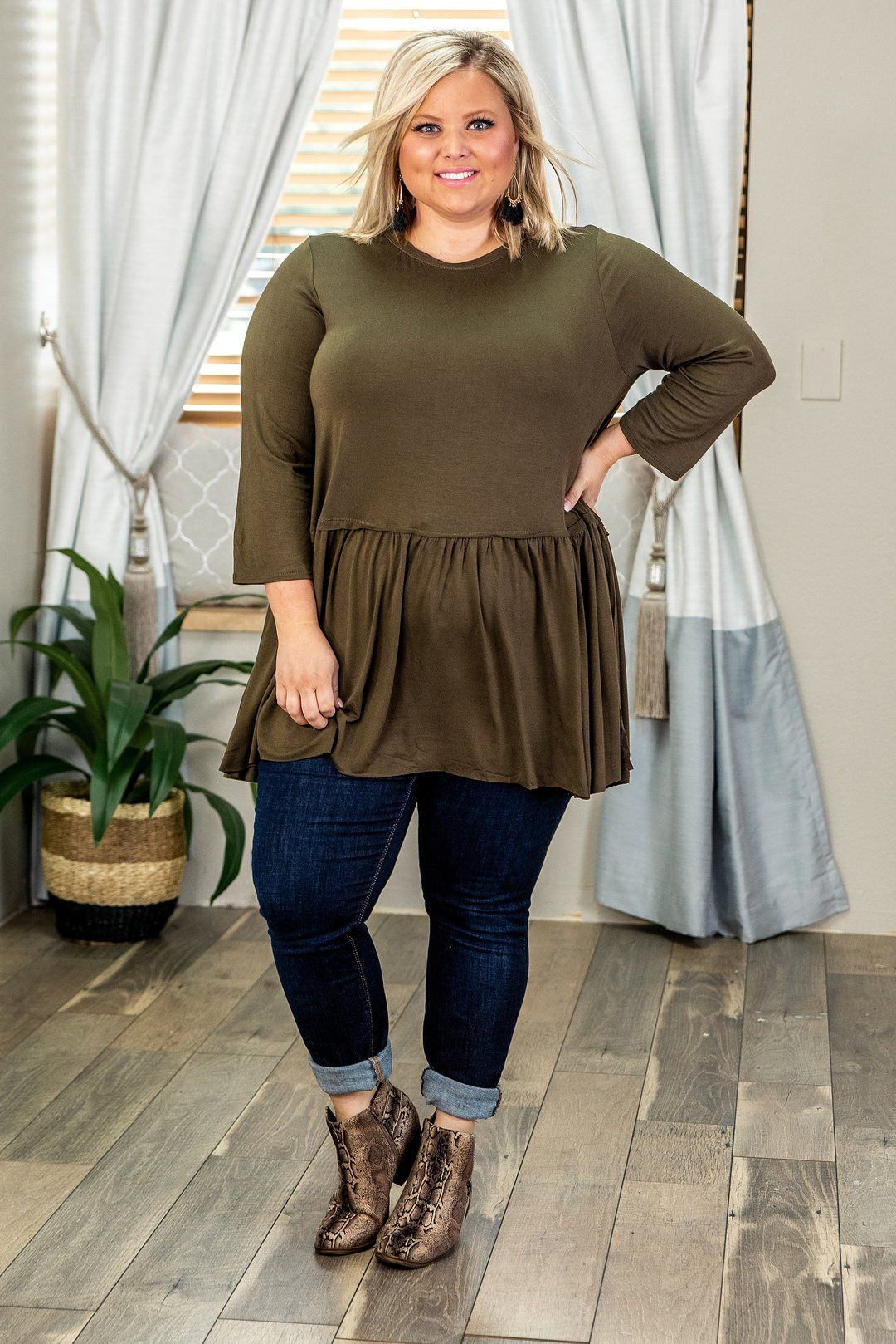 Photo of Curvy Closing Time, DK Olive, Plus Size Top