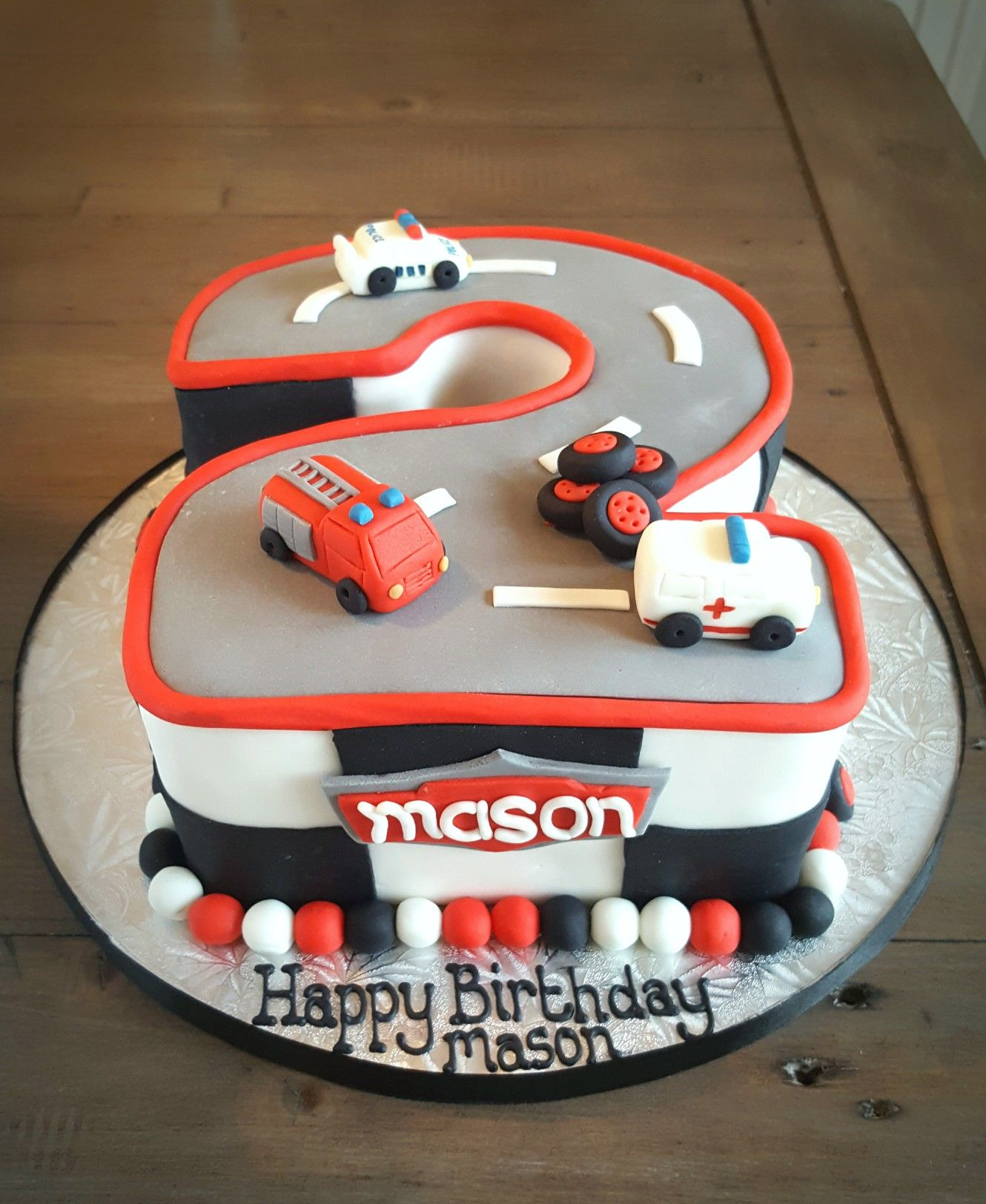 Emergency Vehicles Cake For A 2nd Birthday